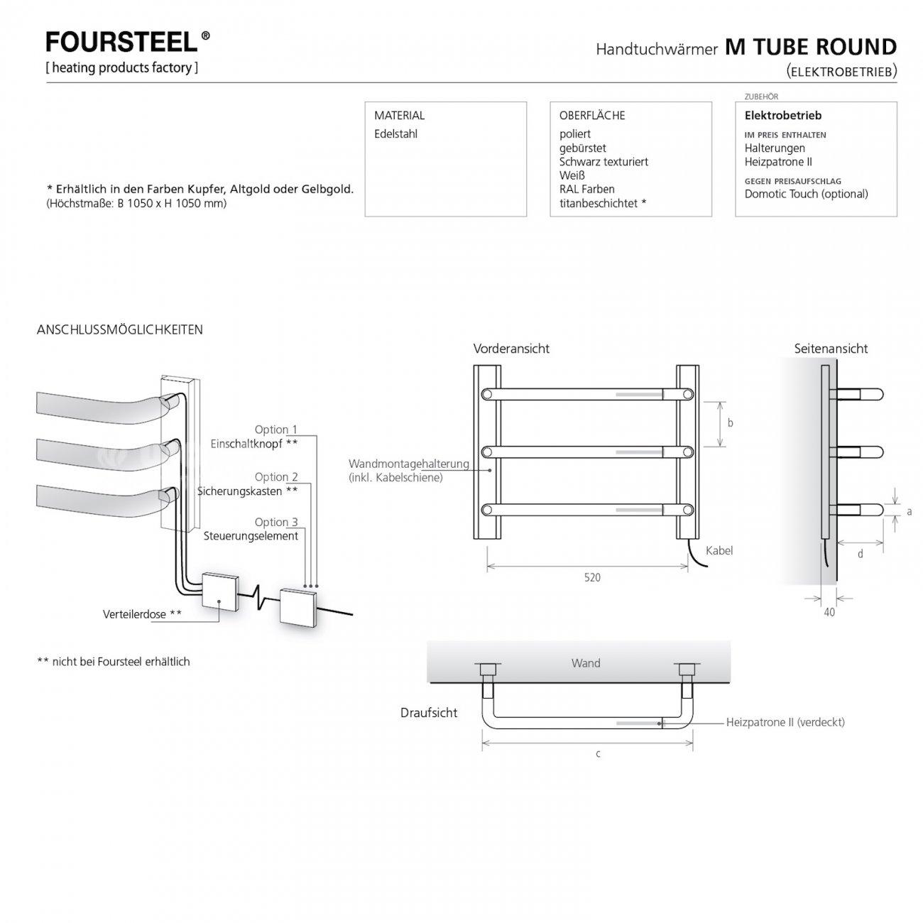 elektrischer design handtuchw rmer von foursteel. Black Bedroom Furniture Sets. Home Design Ideas