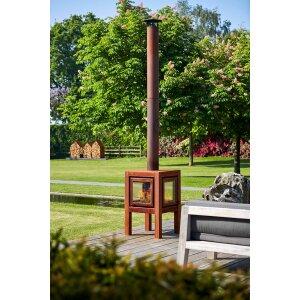 Design Gartenkamin aus Edelrost Quaruba L 4 Seiten Glas schon gerostet