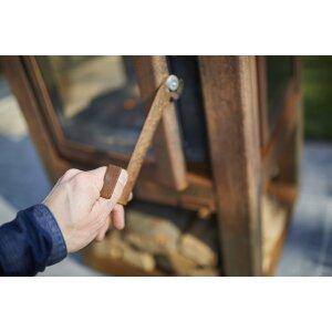 Design Gartenkamin aus Edelrost Quaruba XL 4 Seiten Glas schon gerostet