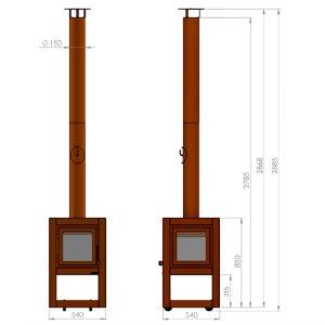 Mobiler Design Gartenkamin aus Cortenstahl Quaruba XL 1 Seite Glas schon gerostet