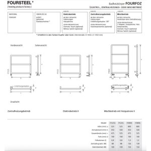 Fourfoz Design Handtuchtrockner FF800 Zentralheizung edelstahl poliert