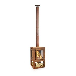 Mobiler Design Gartenkamin aus Cortenstahl Quaruba L 3 Seiten Glas + Betonrückwand schon gerostet