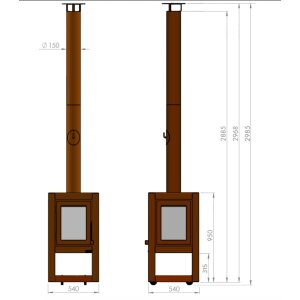 Mobiler Design Gartenkamin aus Cortenstahl Quaruba L 3 Seiten Glas + Betonrückwand ungerostet