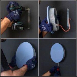 Elektrischer Handtuchheizkörper Betonkiefernharz ohne Stecker achteckig sand