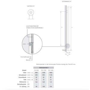 Design Handtuchstange beheizbar andere Farben 1400 mm