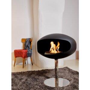 Cocoon TERRA Pedestal Design Ethanol Kamin zum Aufstellen schwarz/Edelstahlfuss
