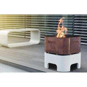 Design Feuerkorb aus Beton und Edelstahl/Corten