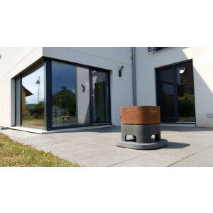 Design Feuerkorb aus Beton und Edelstahl/Corten dunkelgrau Corten