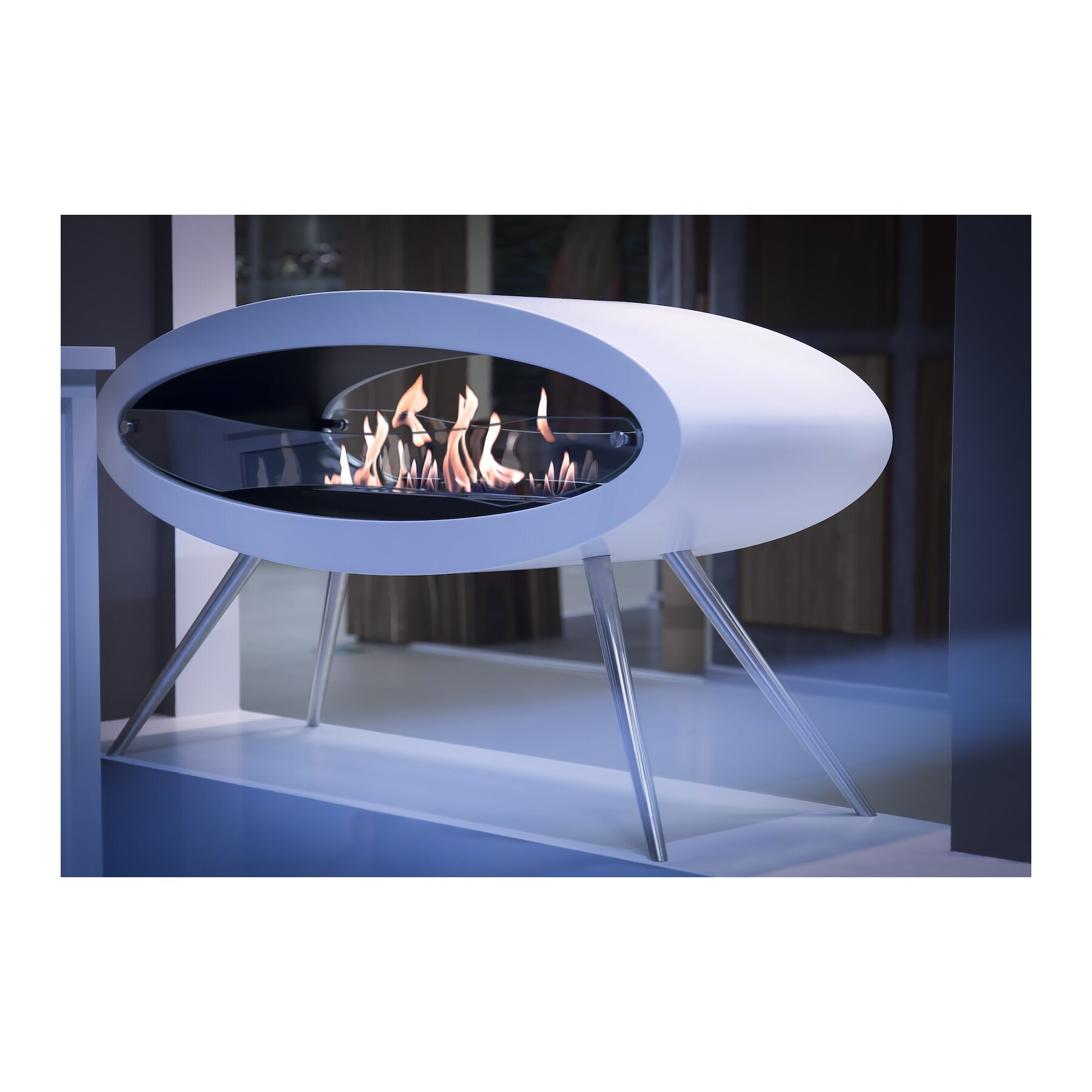 Decoflame Ellipse Flueless Fire: Decoflame Ellipse Design Ethanol Kamin Als Standkamin