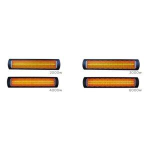 Elektro Design Heizstrahler Tungsten Serie schwarz matt 3000 Watt