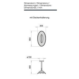 phormalab hotdoor Design Heizstrahler Deckenhalterung Kopf schwarz / Ring weiss