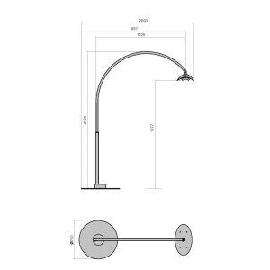 phormalab hotdoor Design Heizstrahler Tischfuss Ständer schwarz / Reflektor grau