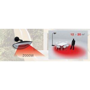phormalab hotdoor Design Heizstrahler mit einem Heizkopf mittlerer Bogen Ständer schwarz, Reflektor satiniert grau