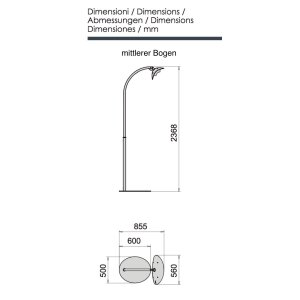 phormalab hotdoor Design Heizstrahler mit einem Heizkopf mittlerer Bogen Ständer weiss, Reflektor schwarz