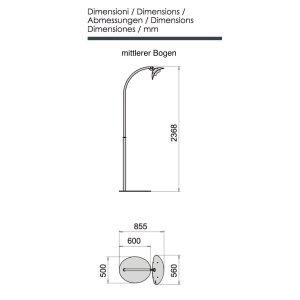 phormalab hotdoor Design Heizstrahler mit einem Heizkopf mittlerer Bogen Ständer weiss, Reflektor satiniert grau