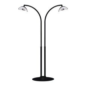 phormalab hotdoor Design Heizstrahler Infrarot 2-strahlig mittlerer Bogen Ständer schwarz / Reflektor weiss