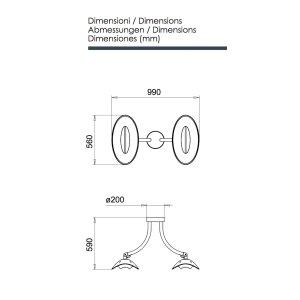 phormalab hotdoor Design Heizstrahler Deckenhalterung mit 2 Strahlern Kopf schwarz / Ring schwarz