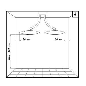 phormalab hotdoor Design Heizstrahler Deckenhalterung mit 2 Strahlern Kopf weiss / Ring weiss