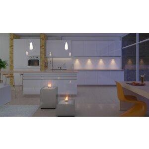 Ethanol Säulenkamin Decoflame Monaco Square Lounge Edelstahl gebürstet