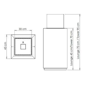 Ethanol Säulenkamin Decoflame Monaco Square Tower schwarz