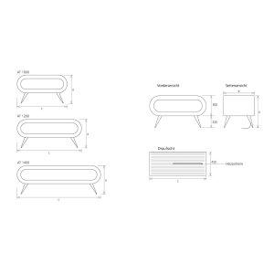 Freistehender Design-Heizkörper Arena Table AT1000, schwarz, weiss