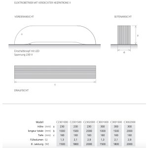 Design-Heizkörper Curve Bodenanschuss C1000 230, Zentralheizung, schwarz