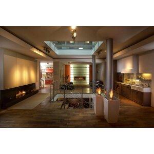 Ethanol Kamin für die Terrasse Decoflame Nice Lounge white high gloss