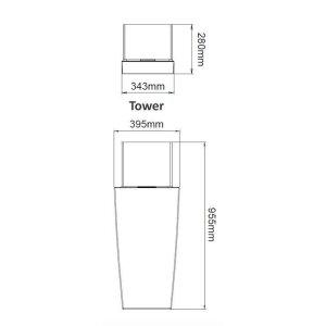 Ethanol Kamin für die Terrasse Decoflame Nice Tower black high gloss