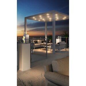 Outdoor Feuersäule Dubai Square von Decoflame Square Lounge white