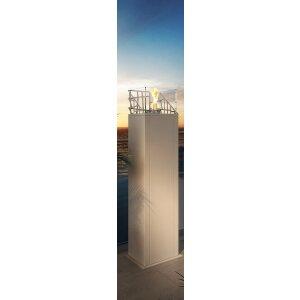 Outdoor Feuersäule Dubai Square von Decoflame Square Tower white