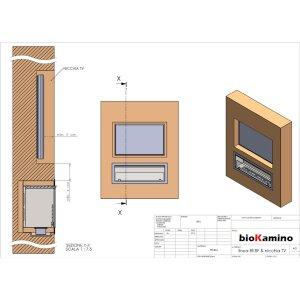 Durchsicht Einbau Ethanolkamin BKBF-B-900 Standardbrenner mit Magnetrahmen