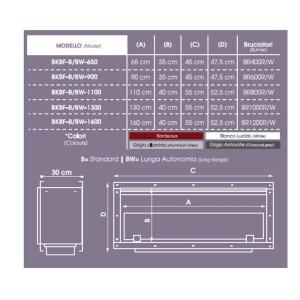 Durchsicht Einbau Ethanolkamin BKBF-B-1100 Standardbrenner ohne Magnetrahmen