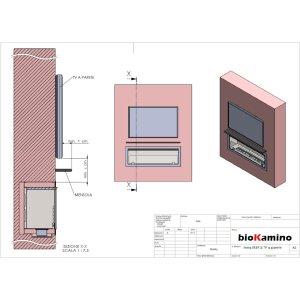 Durchsicht Einbau Ethanolkamin BKBF-B-1300 Brenner mit grossem Tank mit Magnetrahmen