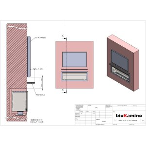 Durchsicht Einbau Ethanolkamin BKBF-B-1600 Brenner mit grossem Tank mit Magnetrahmen