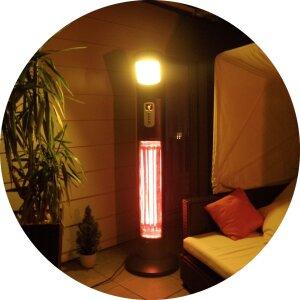 Elektrischer Standheizstrahler mit Licht