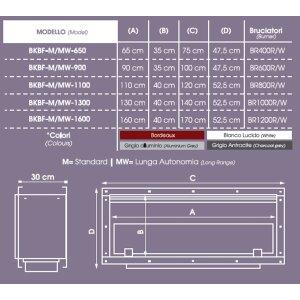 Einbau Ethanolkamin einseitig offen BKBF-M-1100 Standardbrenner ohne Magnetrahmen