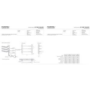 Designer Handtuchwärmer elektrisch M Tube Square 550 weiss, schwarz texturiert