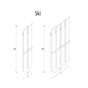 K8 RADIATORI Designheizung Ski verspiegelt 2-Ski 1650 hoch