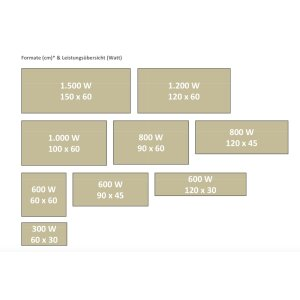 Infrarot Speicherpaneele Pur Klassik 116x46, 1000 Watt PUR RAL Farbe