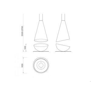 Design Hänge-Ethanolkamin Thales  schwarz, schwarz