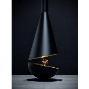 Design Hänge-Ethanolkamin Thales  schwarz, golden
